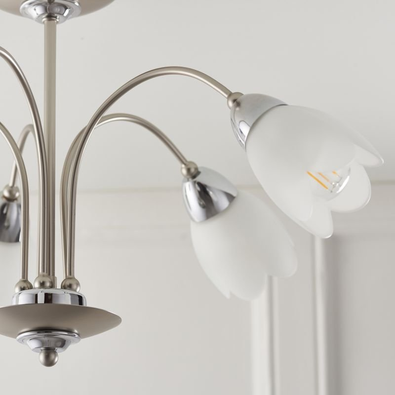 Endon-124-5 - Petal - Satin Chrome & Opal Glass 5 Light Centre Fitting