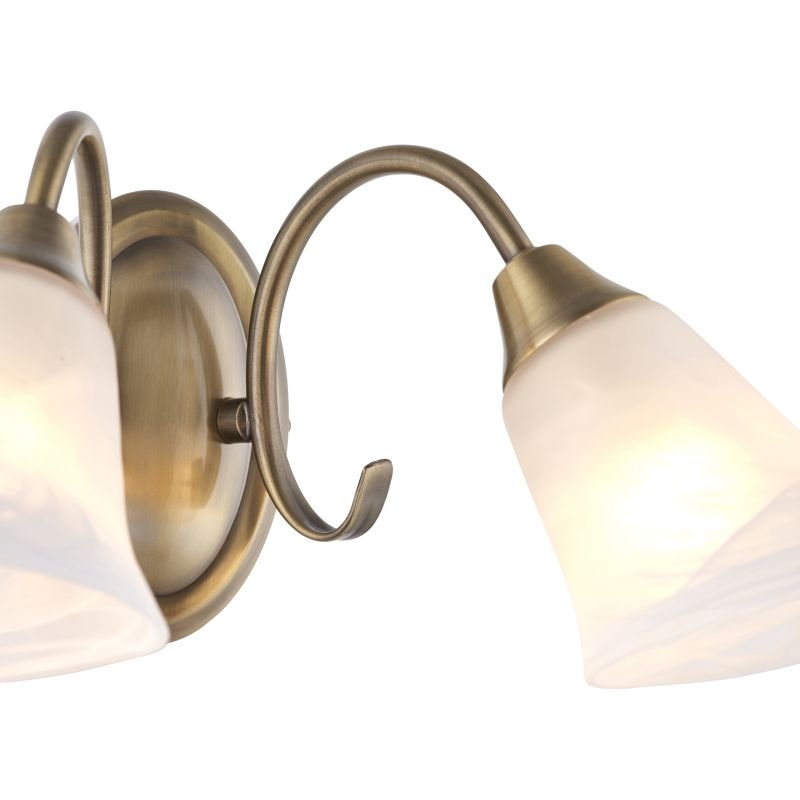 Endon-144-2AN - Hardwick - Alabaster Glass with Antique Brass Twin Wall Lamp