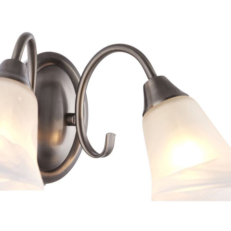 Endon-144-2AS - Hardwick - Alabaster Glass with Antique Silver Twin Wall Lamp