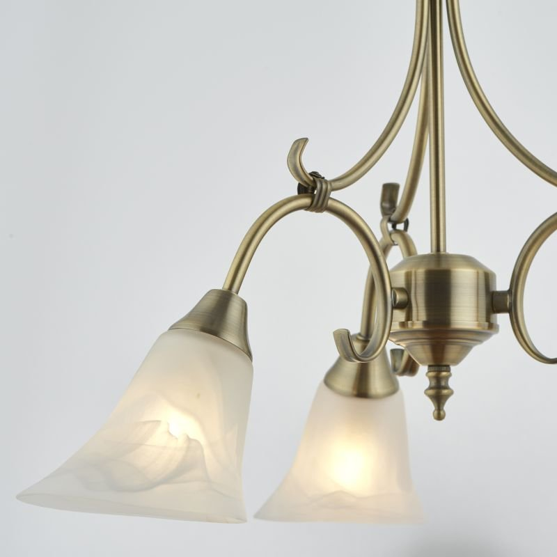 Endon-144-3AN - Hardwick - Alabaster Glass with Antique Brass 3 Light Pendant