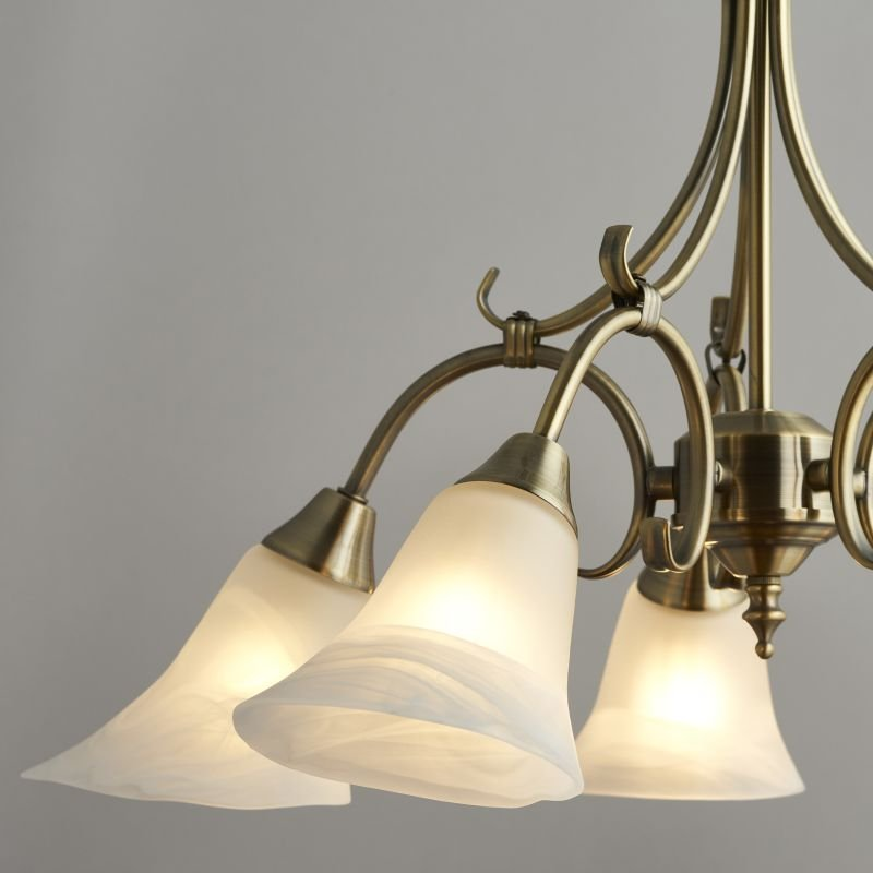 Endon-144-5AN - Hardwick - Alabaster Glass with Antique Brass 5 Light Pendant