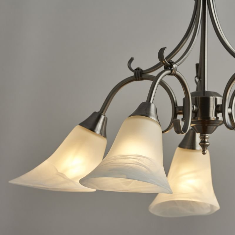 Endon-144-5AS - Hardwick - Alabaster Glass with Antique Silver 5 Light Pendant