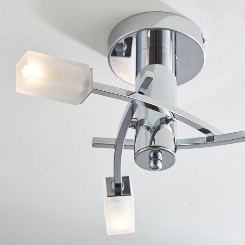 Endon-146-3CH - Havana - Frosted Glass with Chrome 3 Light Ceiling Lamp