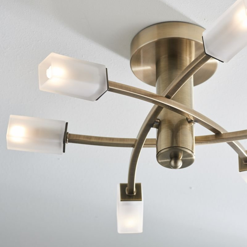 Endon-146-6AB - Havana - Frosted Glass with Antique Brass 6 Light Ceiling Lamp