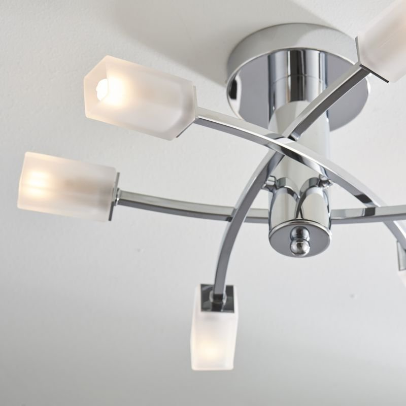 Endon-146-6CH - Havana - Frosted Glass with Chrome 6 Light Ceiling Lamp
