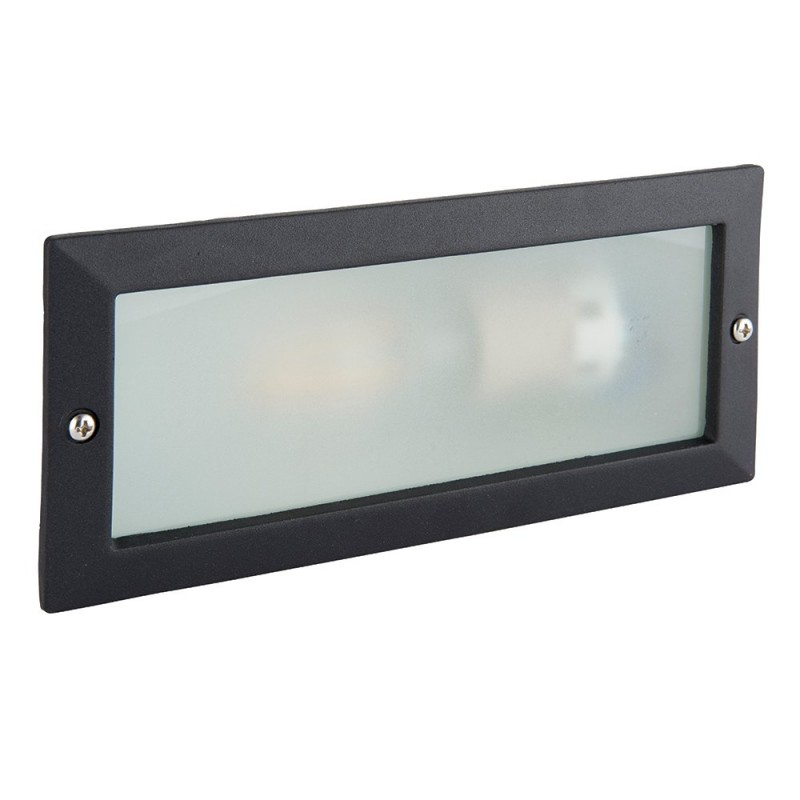 Saxby-OL60AB - Eco - Textured Black & Frosted Glass Brick Light