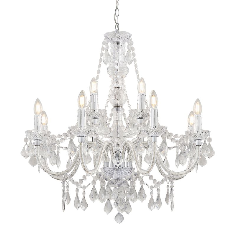 Endon-308-8-4CL - Clarence - Clear Acrylic with Chrome 12 light Chandelier
