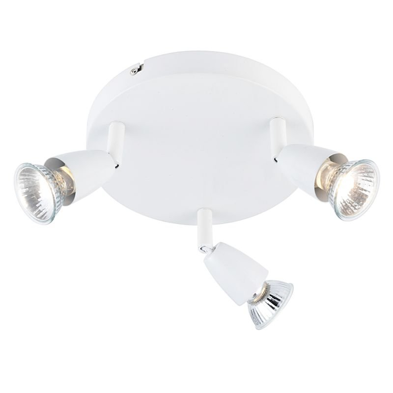 Saxby-43283 - Amalfi - Gloss White 3 Light Round Spotlights