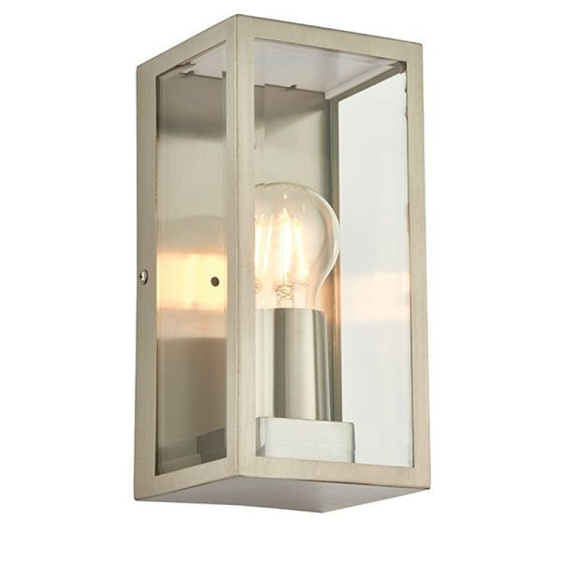 Endon-53803 - Oxford - Brushed Stainless Steel with Clear Glass Lantern Wall Lamp