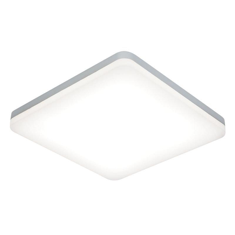Saxby-54487 - Noble - LED Slim Opal & Silver Square Flush