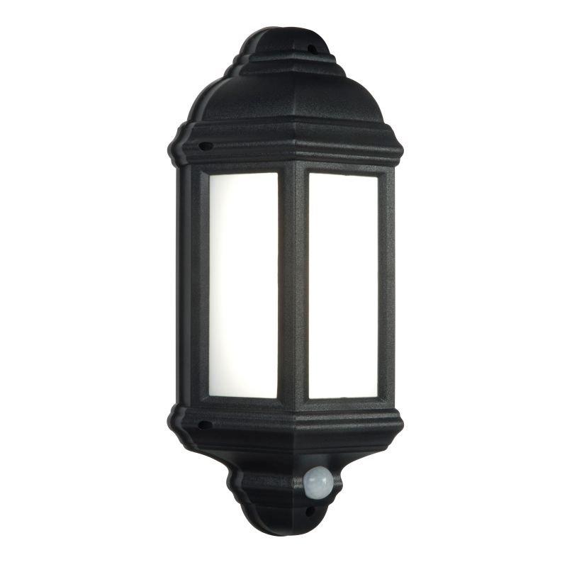 Saxby-54553 - Halbury - LED Black Half Lantern Sensor Wall Lamp