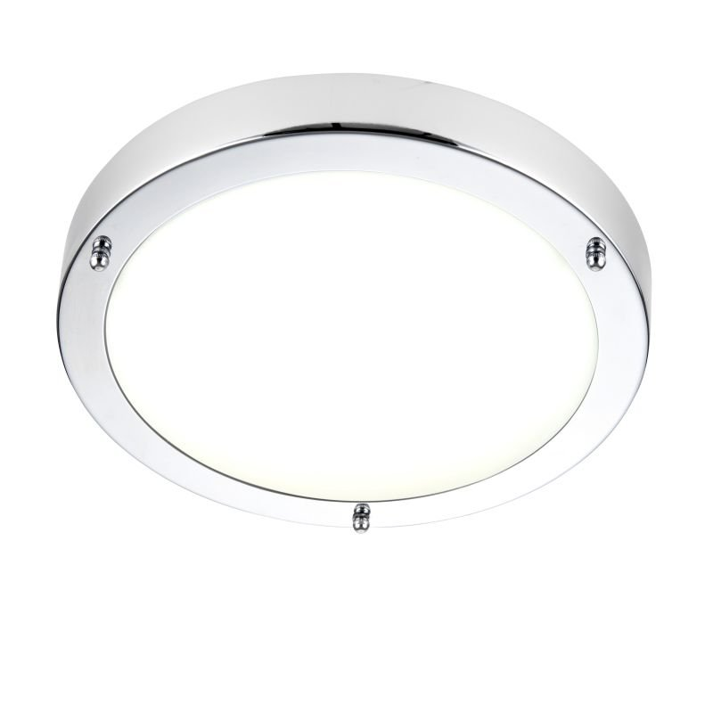 Saxby-54676 - Portico - LED Polished Chrome & Frosted Glass Flush