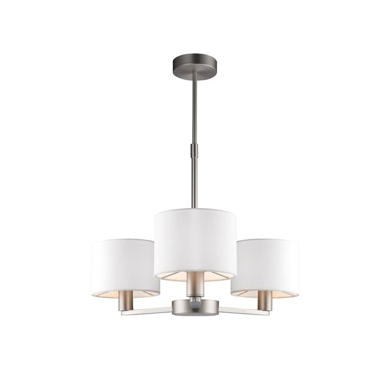 Endon-60256 - Daley - White Shade & Nickel 3 Light Centre Fitting