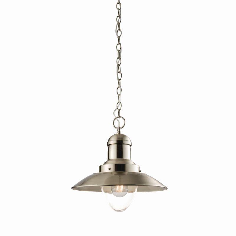 Endon-60799 - Mendip - Satin Nickel Metal with Glass Single Hanging Pendant