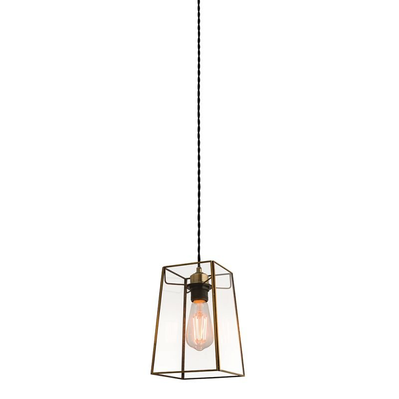 Endon-60892 - Beaumont - Clear Glass & Antique Brass Shade for Pendant