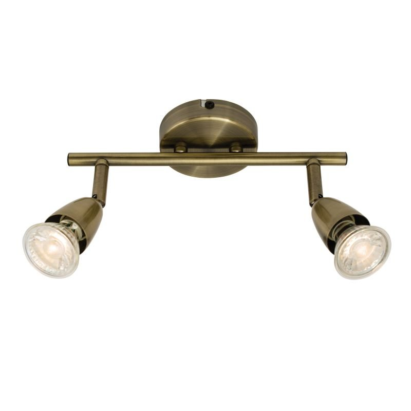 Saxby-60999 - Amalfi - Antique Brass 2 Light Bar Spotlights