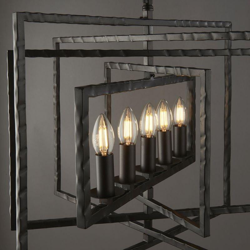 Endon-61017 - Tibbet - Aged Hammered Pewter Paint 5 Light Pendant