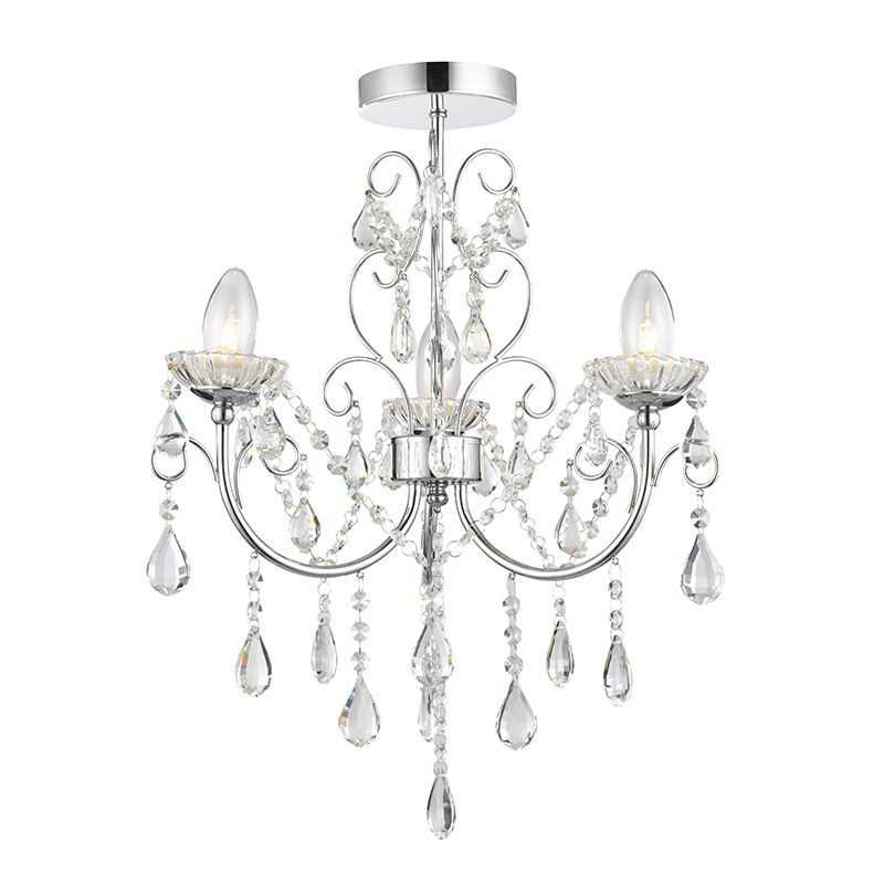 Endon-61251 - Tabitha - Bathroom Crystal with Chrome 3 Light Ceiling Lamp