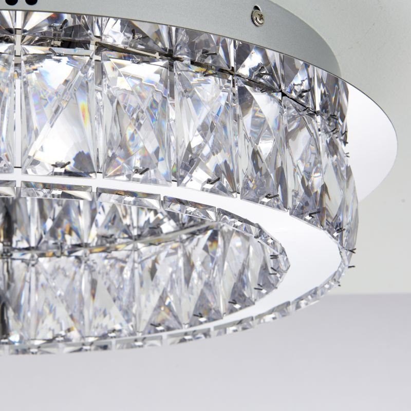 Endon-61340 - Swayze - LED Clear Faceted Acrylic with Chrome Flush