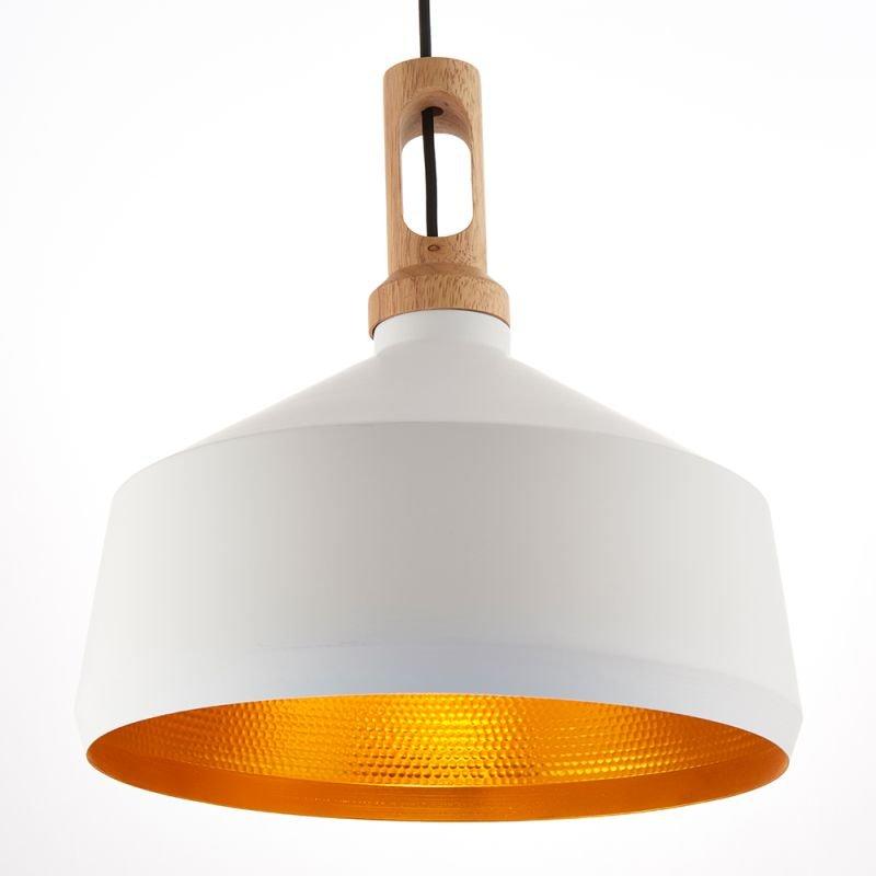 Endon-61352 - Garcia - Matt White & Light Wood Single Pendant
