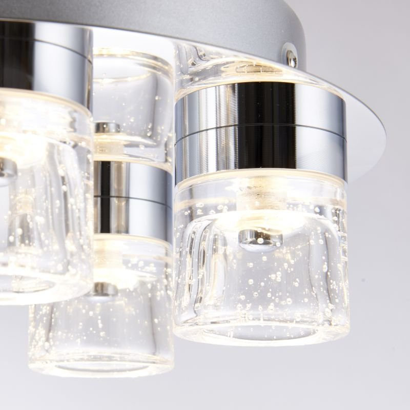 Endon-61358 - Imperial - Bathroom Chrome with Glass 5 Light Ceiling Lamp