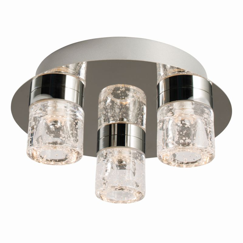 Endon-61359 - Imperial - Bathroom Chrome with Glass 3 Light Ceiling Lamp