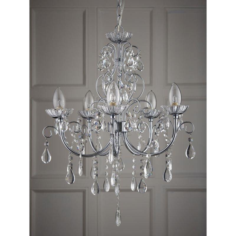 Endon-61384 - Tabitha - Bathroom Crystal with Chrome 5 Light Centre Fitting