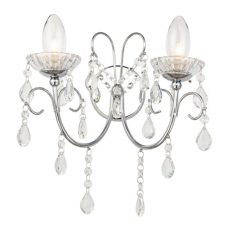 Endon-61385 - Tabitha - Bathroom Crystal with Chrome Twin Wall Lamp