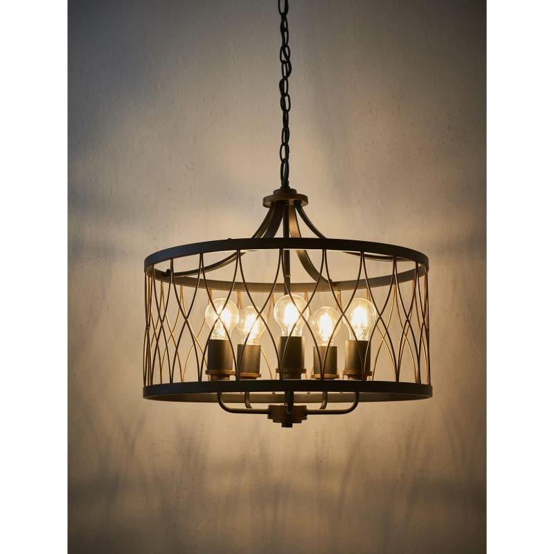Endon-61498 - Heston - Matt Black with Rustic Bronze 5 Light Pendant