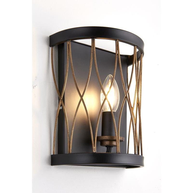 Endon-61499 - Heston - Matt Black with Rustic Bronze Wall Lamp