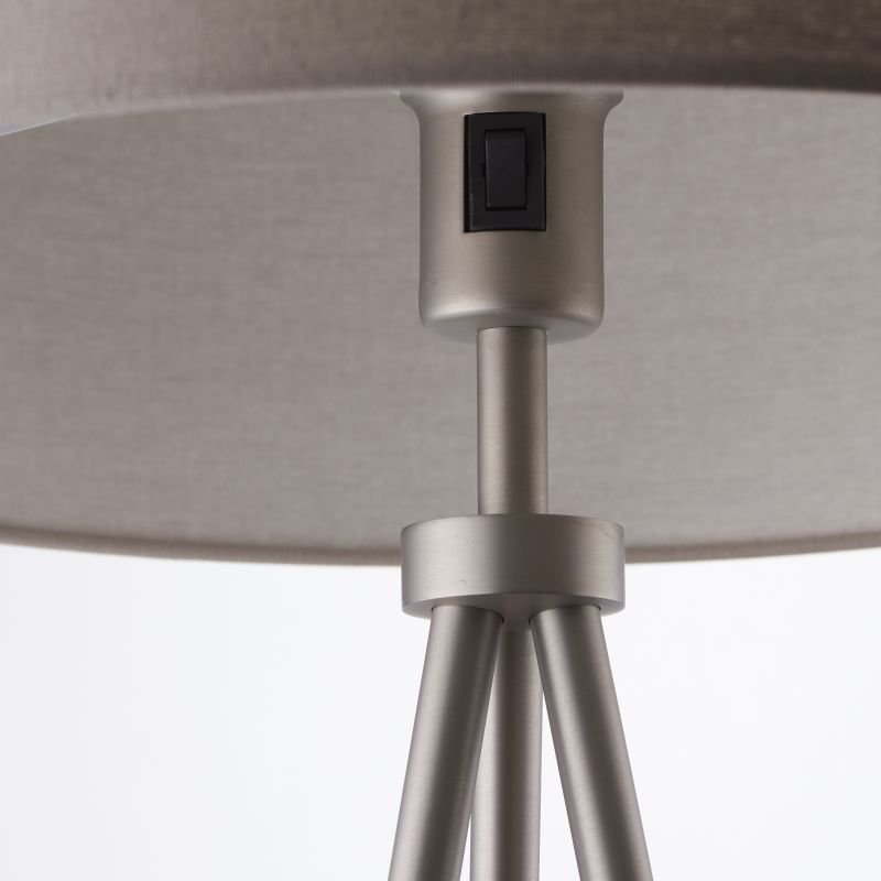 Endon-66987 - Tri - Grey with Matt Nickel Tripod Floor Lamp
