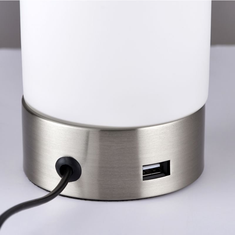 Endon-67517 - Dara - USB Brushed Nickel with Glass Touch Table Lamp