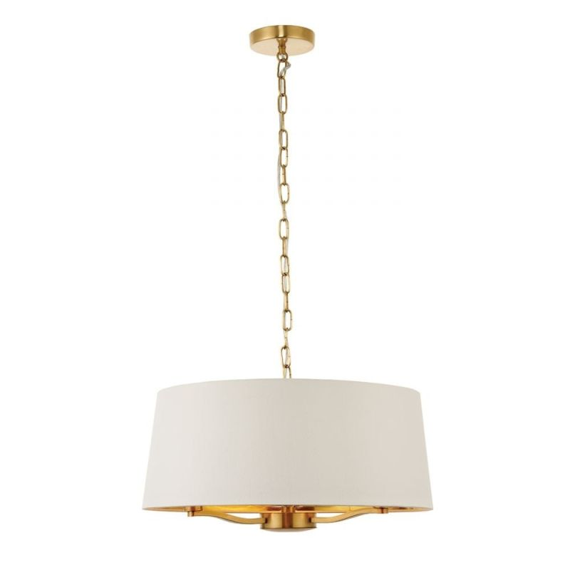 Endon-67667 - Harvey - Vintage White Shade with Brushed Satin 3 Light Pendant