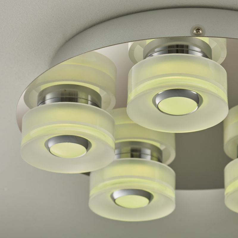 Endon-68913 - Rita - LED Polished Chrome with Frosted 5 Light Ceiling Lamp