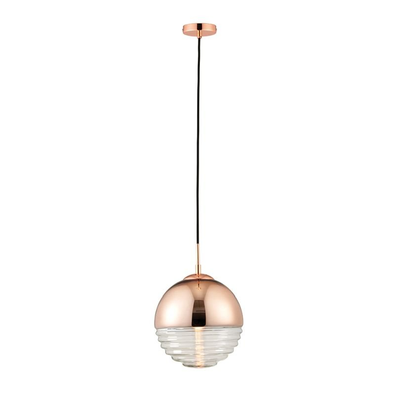 Endon-68956 - Paloma - Clear Ribbed Glass & Polished Copper Pendant