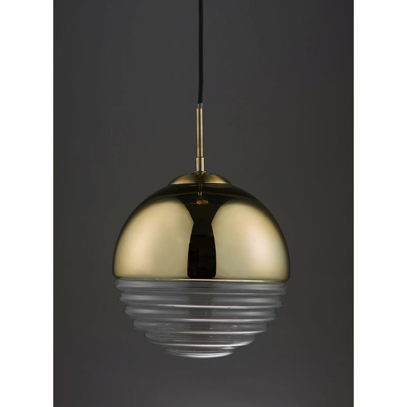 Endon-68958 - Paloma - Clear Ribbed Glass & Gold Pendant