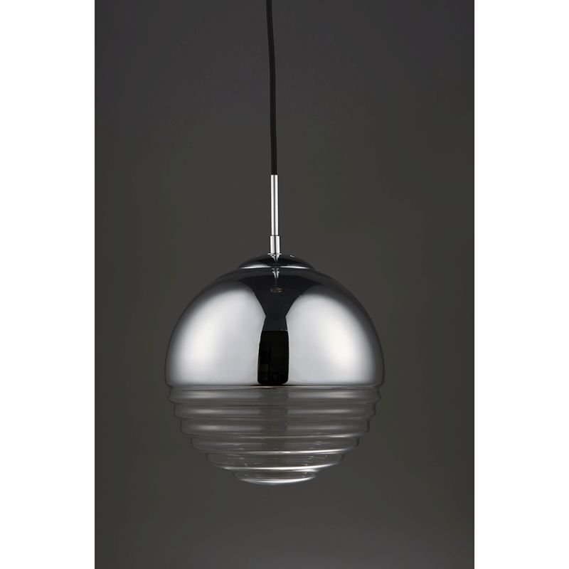 Endon-68959 - Paloma - Clear Ribbed Glass & Chrome Pendant