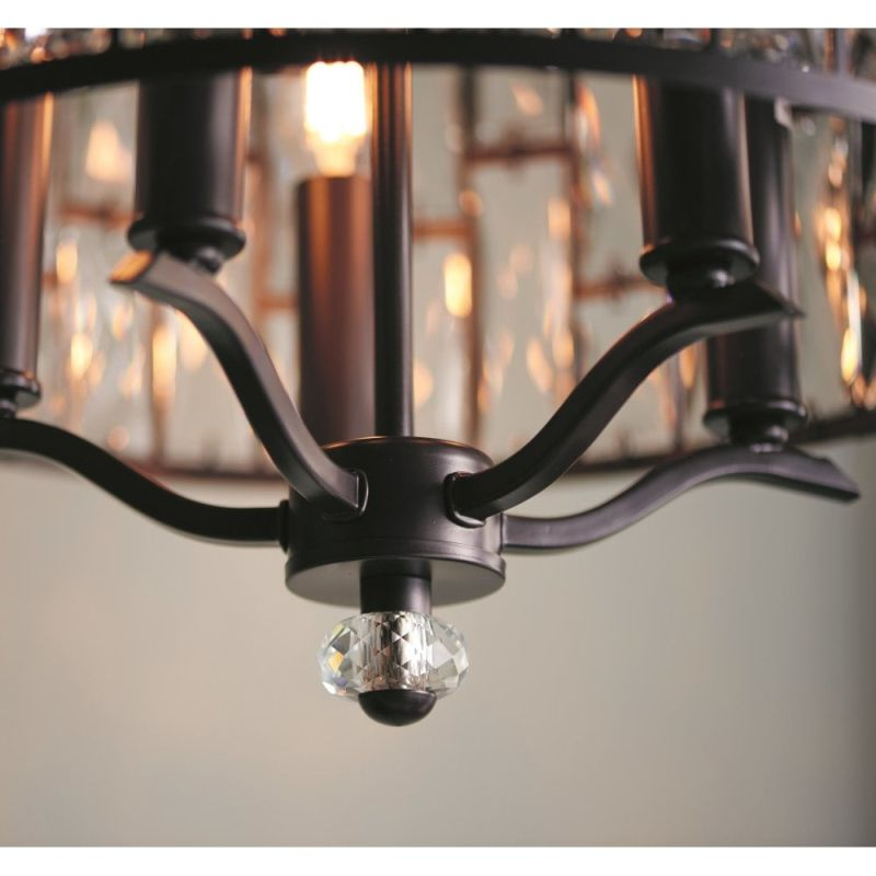 Endon-69390 - Belle - Crystal with Dark Bronze 5 Light Pendant