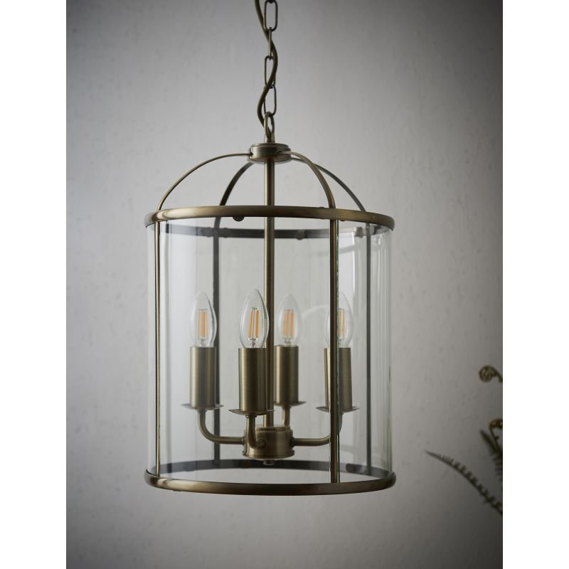 Endon-69455 - Lambeth - Antique Brass with Glass 4 Light Lantern Pendant