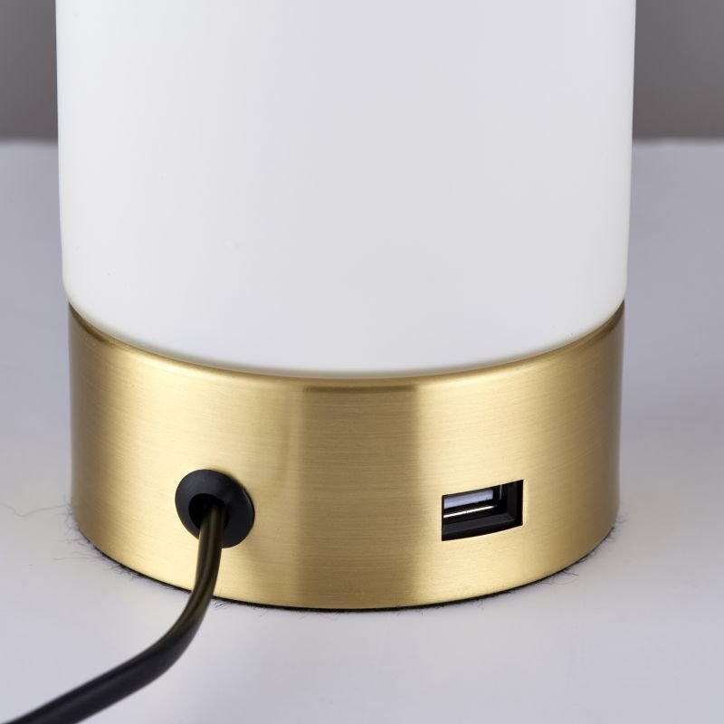 Endon-69520 - Dara - USB Brushed Brass with Glass Touch Table Lamp
