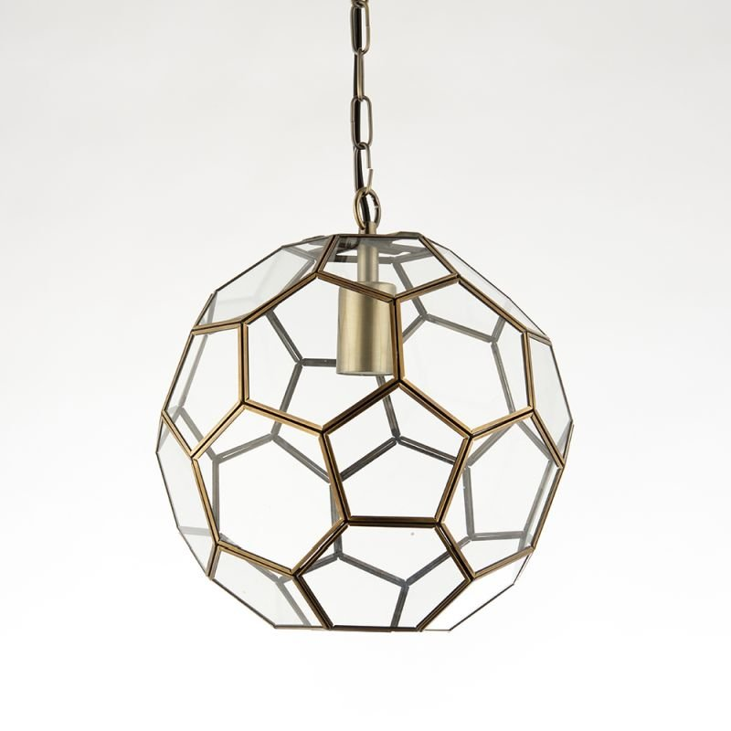 Endon-69784 - Miele - Hexagonal Glass & Antique Brass Single Lantern
