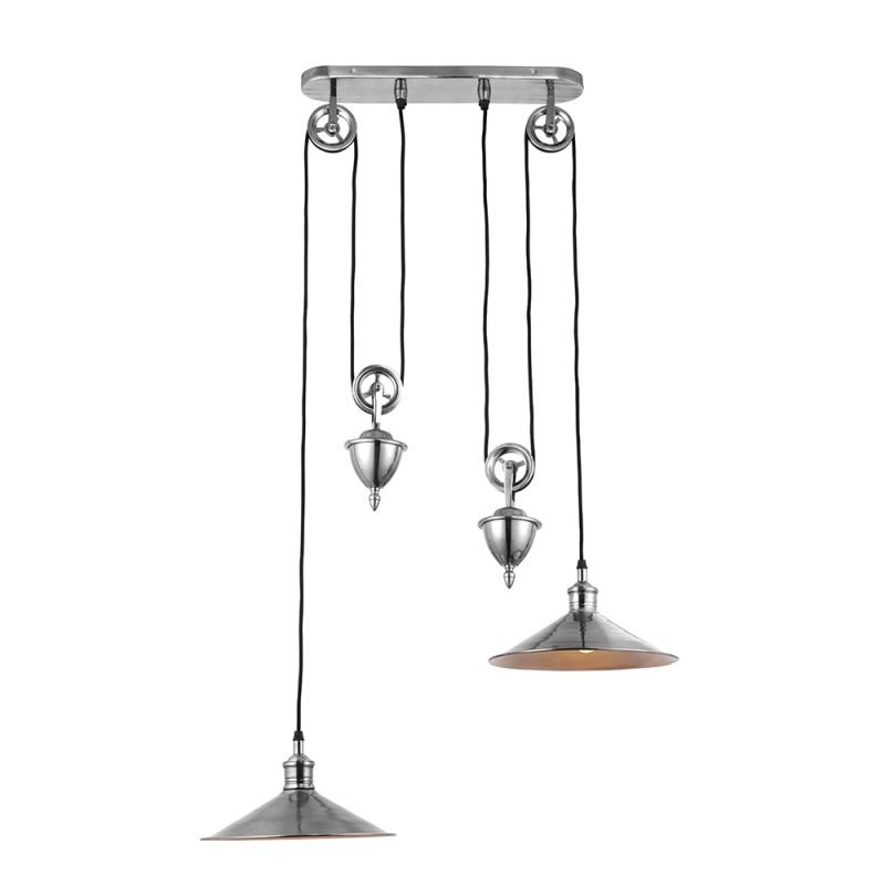 Endon-69840 - Victoria - Antique Silver 2 Light Rise and Fall Pendant