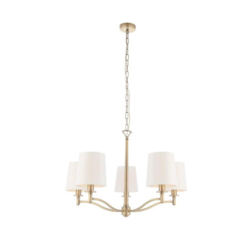 Endon-70245 - Ortona - Vintage White & Matt Antique Brass 5 Light Centre Fitting