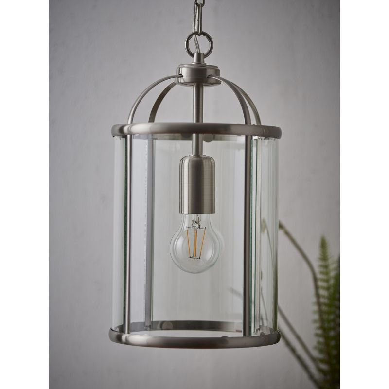 Endon-70323 - Lambeth - Satin Nickel with Glass Single Lantern Pendant