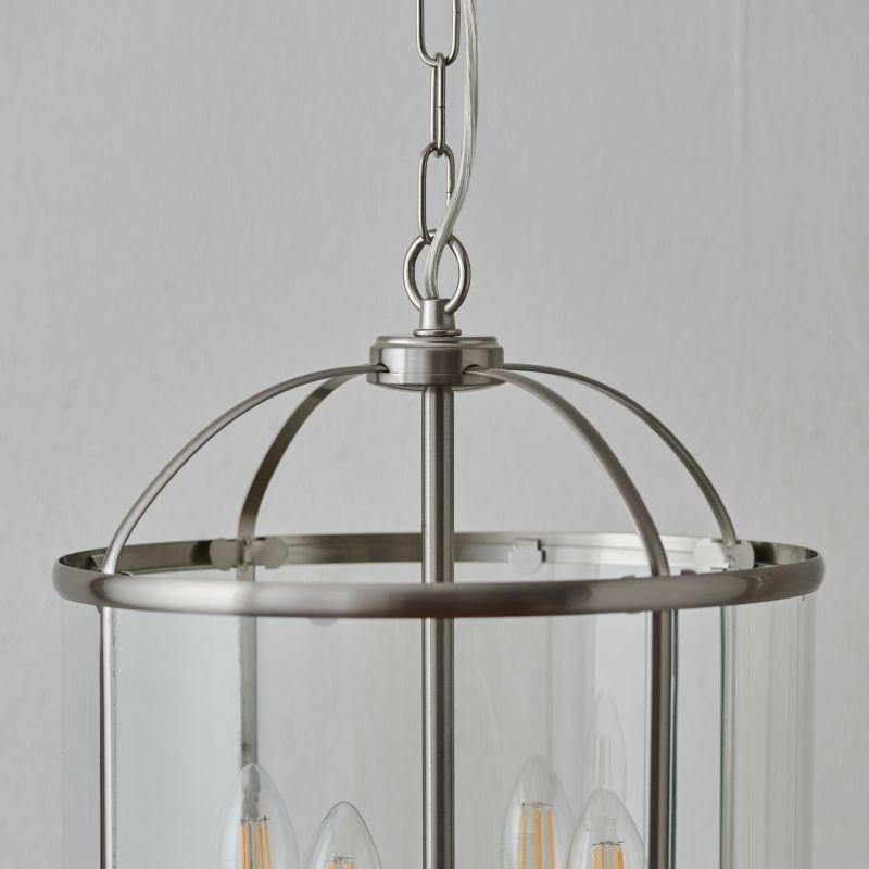 Endon-70324 - Lambeth - Satin Nickel with Glass 4 Light Lantern Pendant