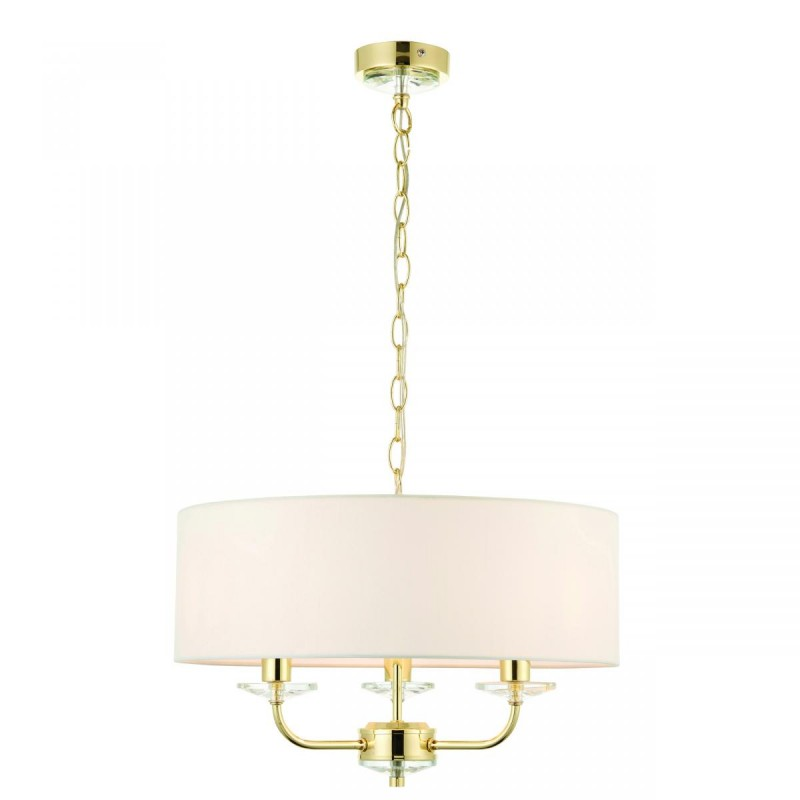 Endon-70560 - Nixon - Vintage White & Gold with Crystal 3 Light Pendant