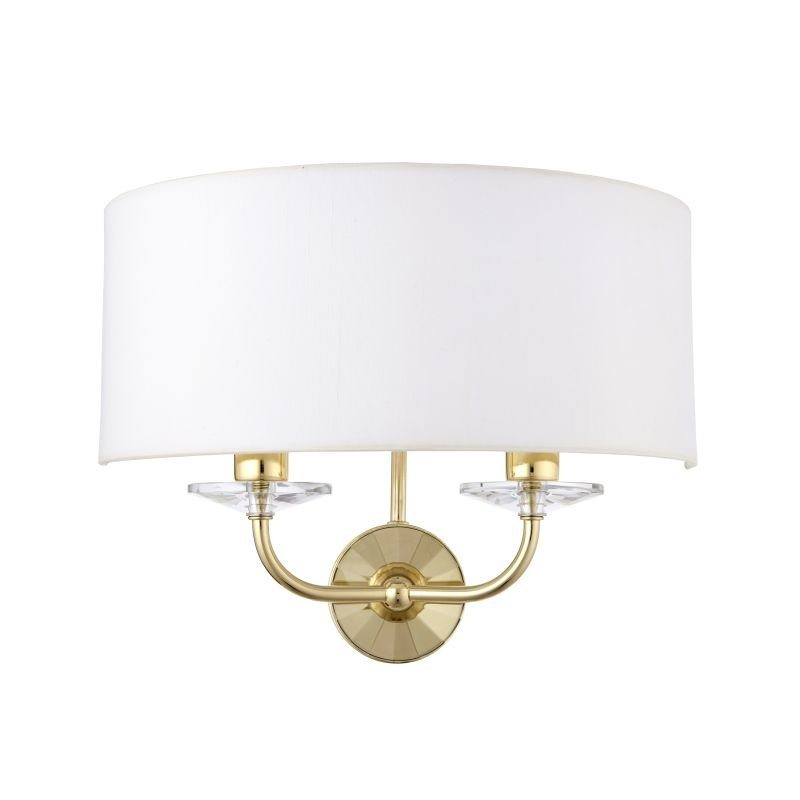 Endon-70562 - Nixon - Vintage White & Gold with Crystal Twin Wall Lamp