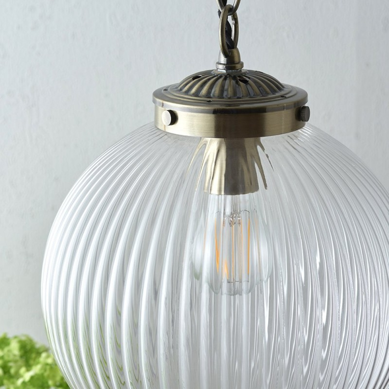 Endon-71123 - Brydon - Antique Brass with Clear Ribbed Glass Pendant