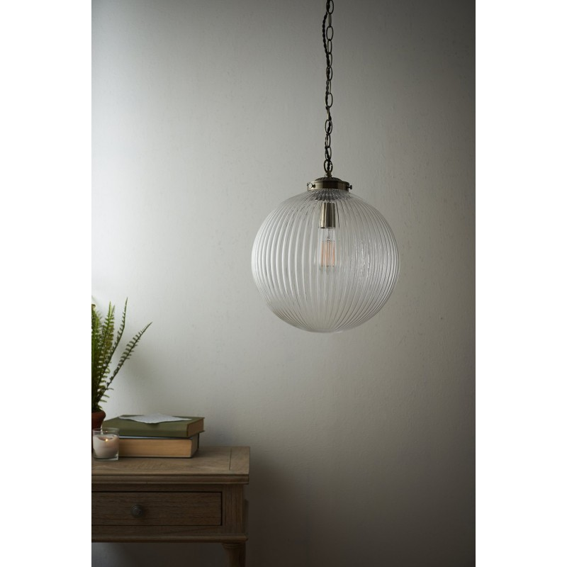 Endon-71124 - Brydon - Antique Brass with Clear Ribbed Glass Big Pendant