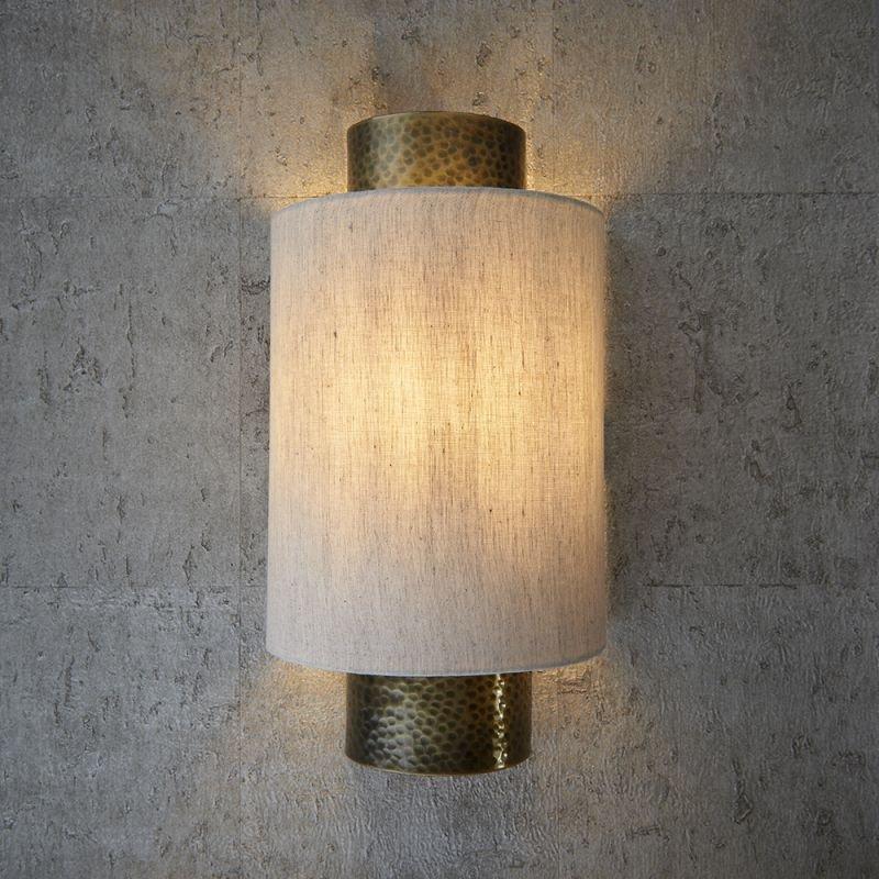 Endon-71308 - Indara - Natural Linen & Hammered Bronze Wall Lamp